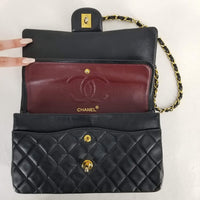 "Authentic Chanel Vintage Black Lambskin 10"" Double Flap"