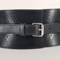 Authentic Alexander McQueen Black Leather Perforated Corset Belt