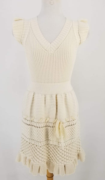 Authentic Red Valentino Ivory Knit Capped Sleeve Dress Sz XS
