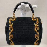 Authentic Dolce & Gabbana Black Embroidered Top Handle Mini