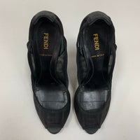Authentic Fendi Black Mesh Zucca Peep Toe Pumps