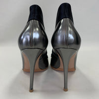 Authentic Gianvito Rossi Metallic Dark Silver Collared Pumps