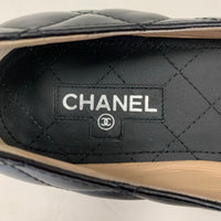 Authentic Chanel Black Quilted Flats with Boy Lock