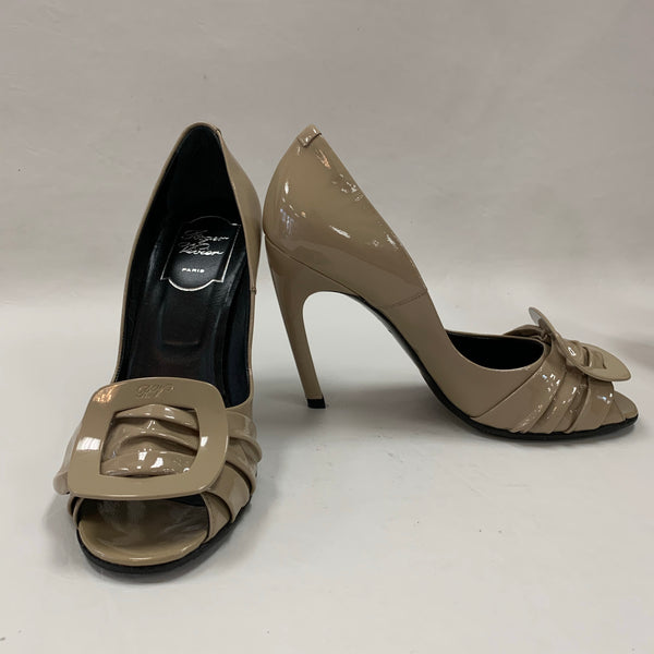 Authentic Roger Vivier Beige Patent Peep Toe Pumps