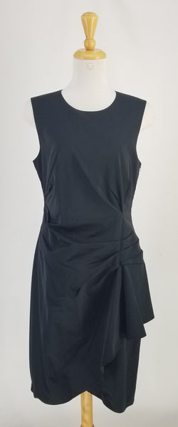 Authentic Lida Baday Black Taffeta Sleeveless Dress Sz 12