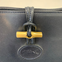 Authentic Longchamp Vintage Navy Leather Shoulder Bag