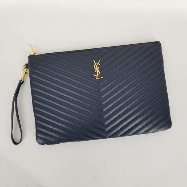 Authentic Saint Laurent Navy Chevron Large Pouch