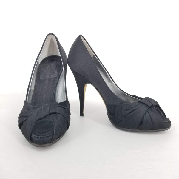 Authentic Giuseppe Zanotti Black Satin Peep Toe Pumps