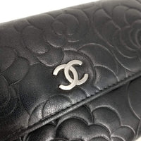 Authentic Chanel Black Lambskin Camilia Flap Wallet