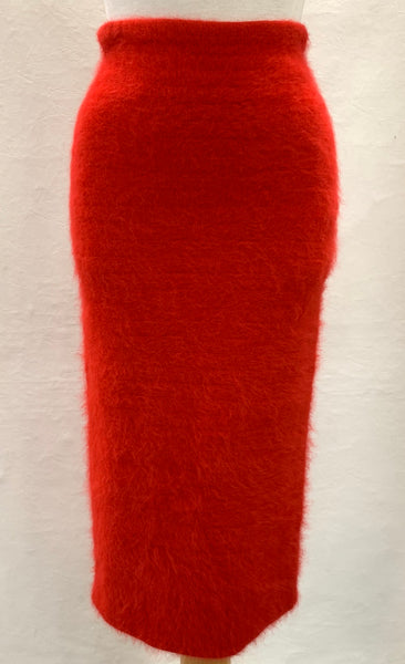 Authentic Helmut Lang Red Angora Pencil Skirt Sz XS