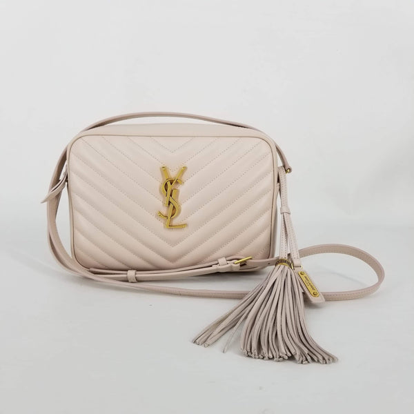 Authentic Saint Laurent Light Pink Chevron Camera Bag