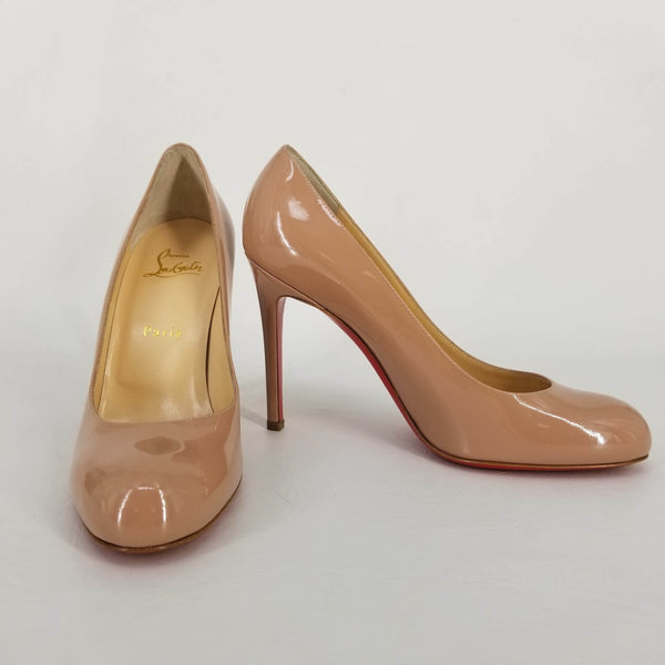 Authentic Christian Louboutin Nude Beige Patent Simple 100 Pumps