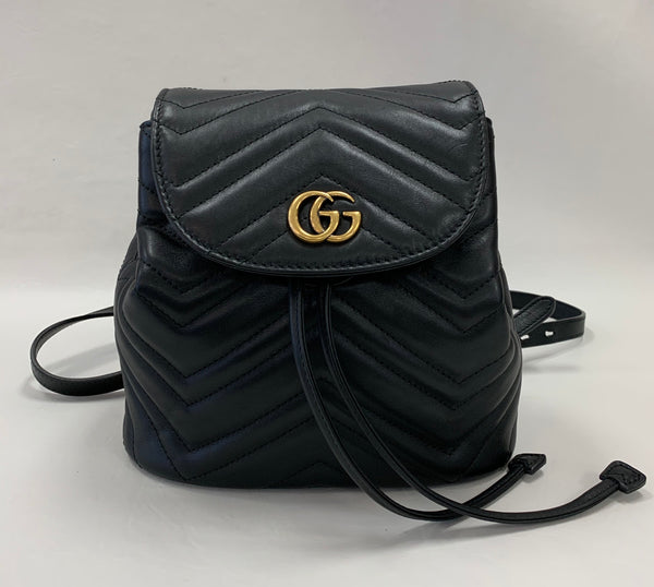 Authentic Gucci Black Marmont Mini Apollo Backpack