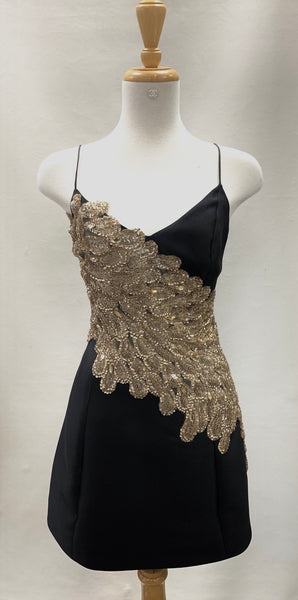 Authentic Mestiza Black Slip Dress with Gold Sequin Accent Sz 2