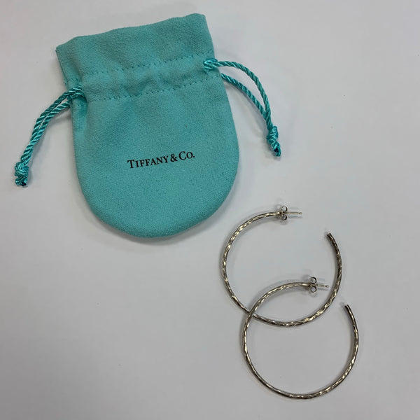 Authentic Tiffany Paloma Picasso Hammered Silver Hoop Earrings