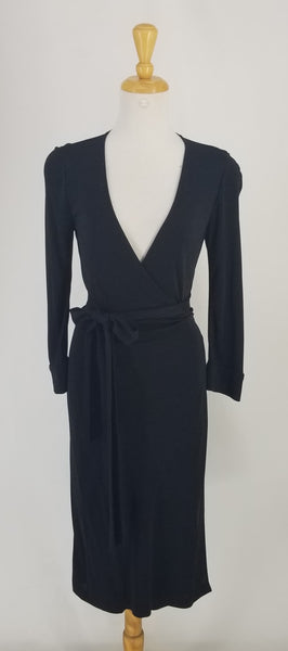 Authentic Diane Von Furstenberg Black Wrap Dress Sz 6