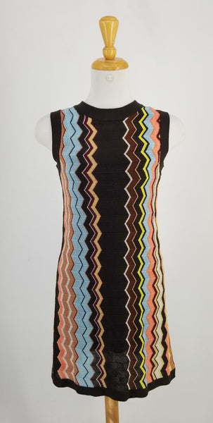 Authentic Missoni Multicolour Chevron Sleeveless Dress Sz XS