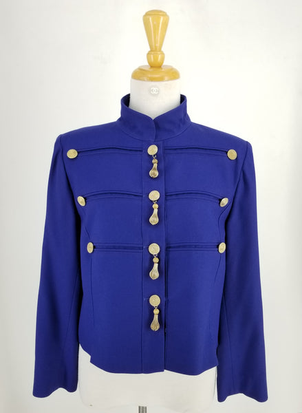 Authentic Louis Feraud Vintage Royal Blue Military Jacket