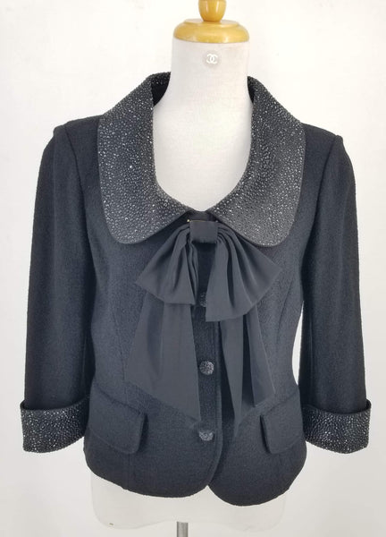 Authentic St. John Black Beaded Bow Jacket Sz 6