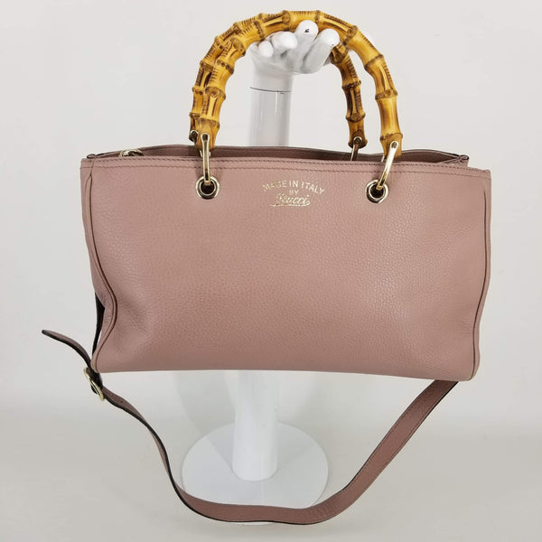 Authentic Gucci Blush Pink Bamboo Shopper Tote