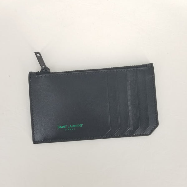 Authentic Saint Laurent Black Leather Zip Card Holder - Green