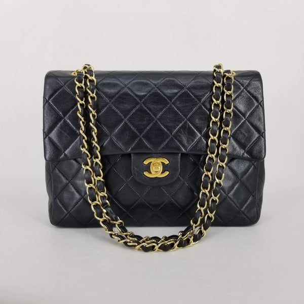"Authentic Chanel Vintage 10"" Square Lambskin Double Flap"