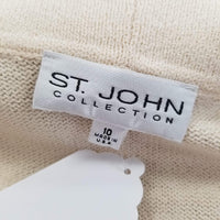 Authentic St John Cream Cardigan/Brown Trim Sz 10