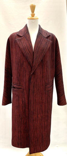 Authentic Comrags Burgundy/Black Stripe Overcoat Sz XL