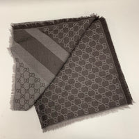 Gucci Sand/Dark Brown wool and silk scarf shawl