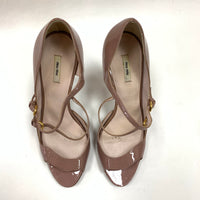 Authentic Miu Miu Rose Beige Patent Peep Toe Pumps