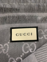 Authentic Gucci Pearl/Med Grey Wool and Silk Scarf/Shawl