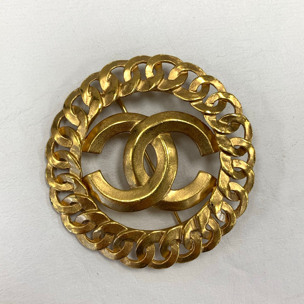 Authentic Chanel Vintage Gold Tubular Pin