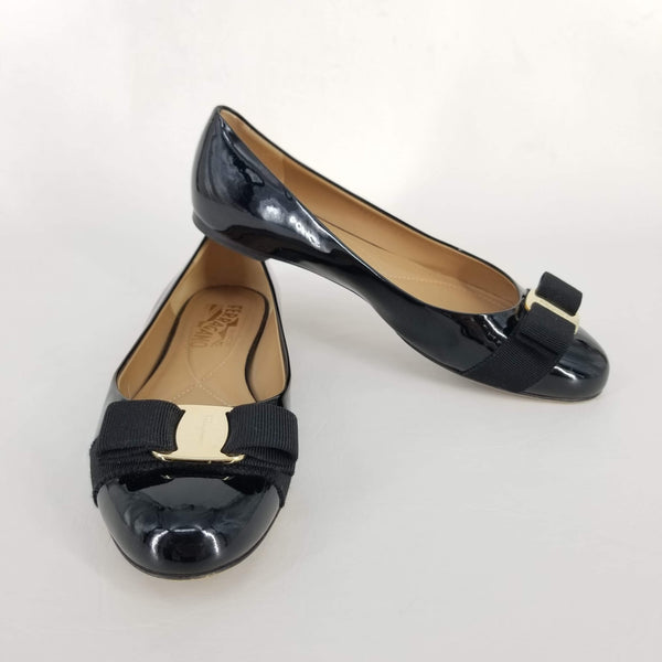 Authentic Salvatore Ferragamo Black Patent Miss Vara Flats Sz 6.5