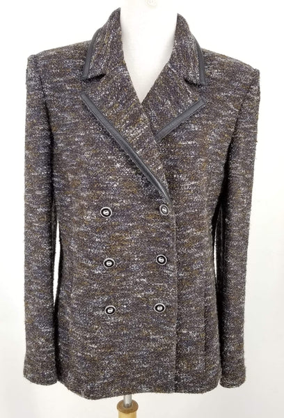 Authentic St John Brown Tweed Double Breasted Jacket with Leather Trim Sz 10