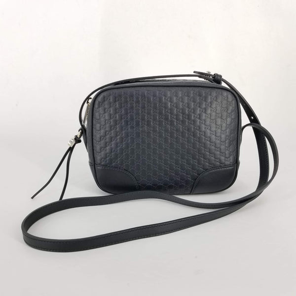 Authentic Gucci Black Leather Guccissima Bree Cross Body