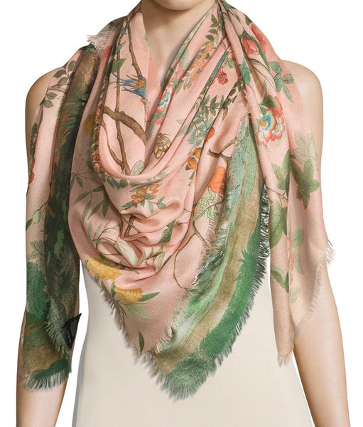 Authentic Gucci Blush Tian Wool/Silk Scarf