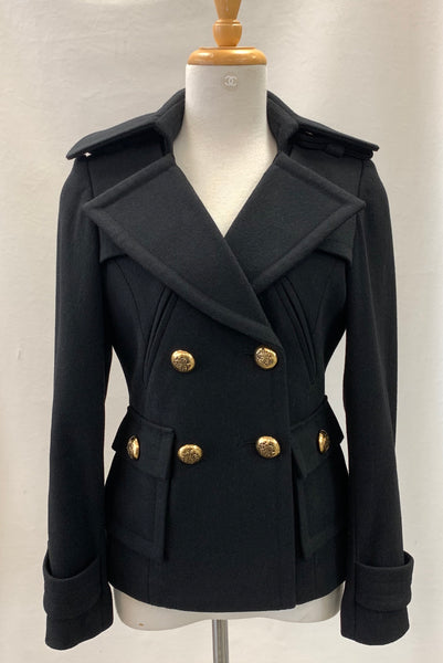 Authentic Smythe Black Wool Cashmere Peacoat