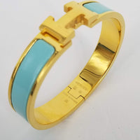 Authentic Hermes Gold & Sea Foam Enamel Clic H Bracelet PM