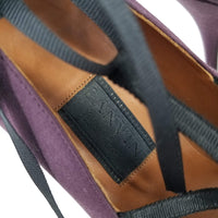 Authentic Lanvin Purple Satin Strappy Pumps