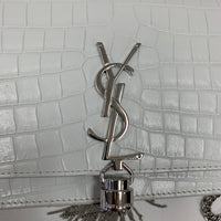 Authentic Saint Laurent White Croc WOC with Tassel