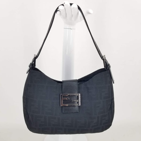Authentic Fendi Black Mamma Zucco Zucca Shoulder Bag