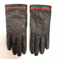 Authentic Gucci Brown Web Leather Gloves