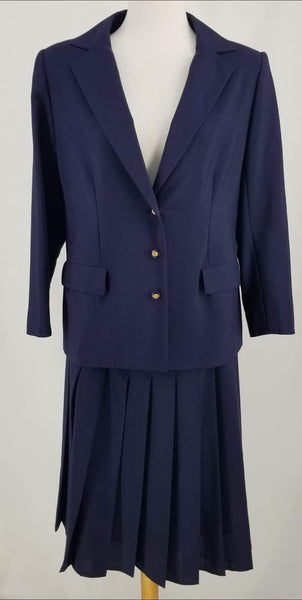 Authentic Chanel Vintage Navy Wool Skirt Suit Sz 10/44