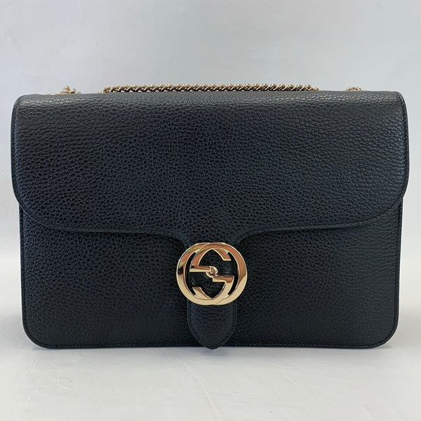 Gucci Black Interlocking GG Flap Bag