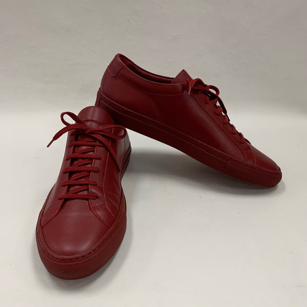 Authentic Common Projects Men's Dark Red Leather Achilles Sneakers Sz 43