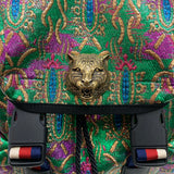 Authentic Gucci Animalier Tiger Web Green Brocade Backpack