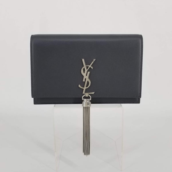 Authentic Saint Laurent Asphalt Smooth Leather WOC with Tassel
