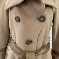 Authentic Mackage Light Brown Wool Coat with leather belt Sz S