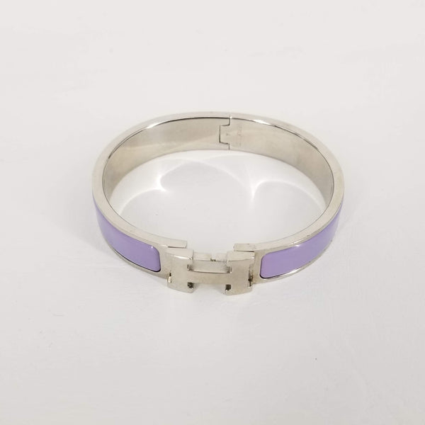 Authentic Hermes Lavender Enamel Clic Bracelet With Silver HW