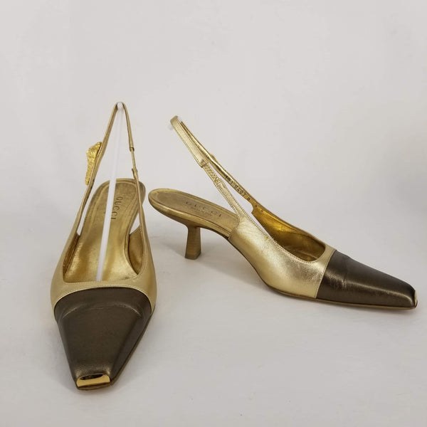 Authentic Gucci Bronze/Gold Slingbacks Sz 9